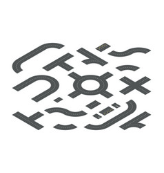 road elements isometric 3d vector image