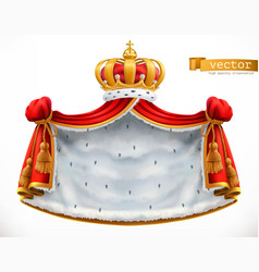 Royal mantle and crown 3d icon vector