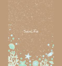 Sea life on brown sand frame vector