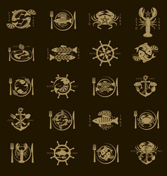seafood menu design set vector image