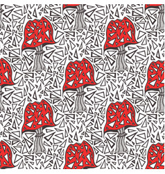 Seamless pattern with zentangle amanita mushrooms vector