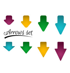 set of bright different arrows with straight and vector image
