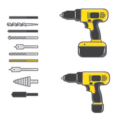 set of cordless drill with complete bits flat vector image
