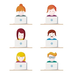 Set of people with computer icons avatar vector image