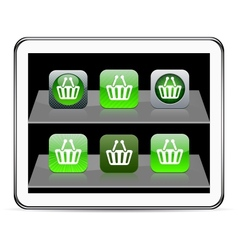 shopping cart green app icons vector image