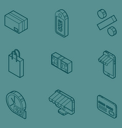 shopping color outline isometric icons vector image