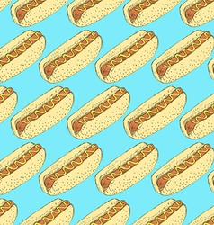 Sketch hot dog in vintage style vector image