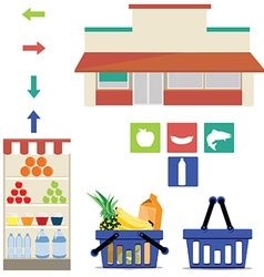 Supermarket icons vector