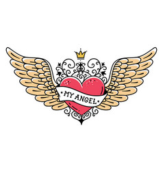 Tattoo heart with wings ribbon and crownmy angel vector