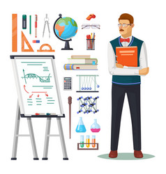 Teacher with book and school education items vector