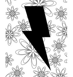 Thunderbolt icon with pattern flowers vector