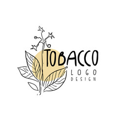 Tobacco logo design emblem with tobacco plant can vector