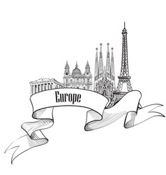 Travel europe label famous buildings and vector
