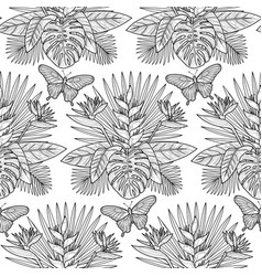 tropical outline seamless pattern vector image