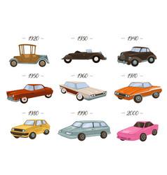 vintage and retro automobiles evolution car vector image
