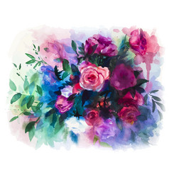 Watercolors rose bouquet vector