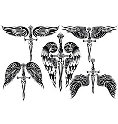 Wings and Sword big set vector image