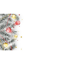 Winter banner with branches christmas balls vector