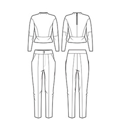 Womens blouse and pants vector