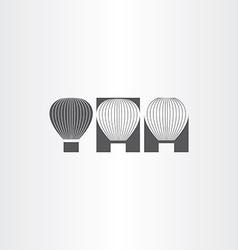 air balloon black icon set vector image vector image