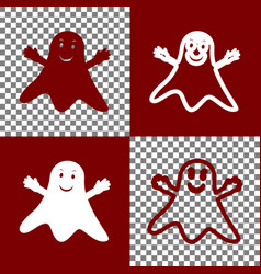 ghost sign bordo and white icons and line vector image vector image