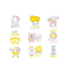 kids shop promo signs set of colorful vector image