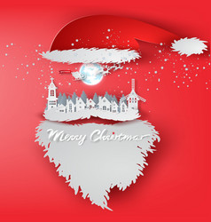 paper art of merry christmas day with santa claus vector image