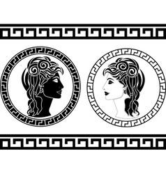 profiles of roman woman vector image vector image