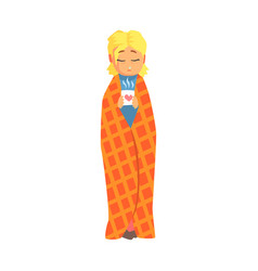 girl wrapped in blanket with hot drink having cold vector image vector image