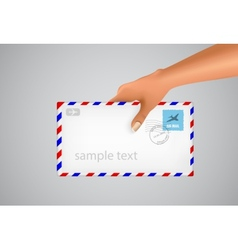 hand holds the envelope vector image