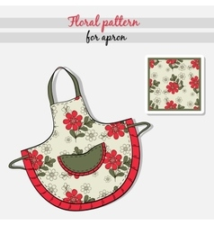 Apron Red Flowers vector image