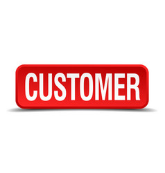 customer red three-dimensional square button vector image