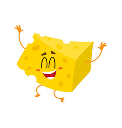cute and funny cheese chunk character jumping from vector image vector image