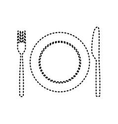 fork knife and plate sign black dashed vector image