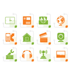 stylized mobile phone and computer icons vector image vector image