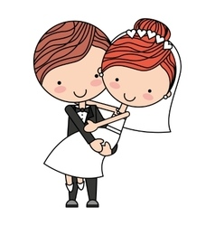 cute Married couple isolated icon design vector image vector image