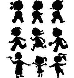 Nine kids black silhouettes vector image vector image