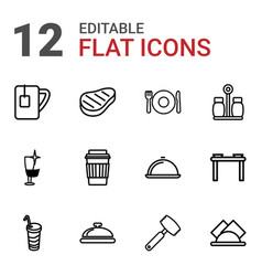 12 restaurant icons vector