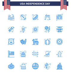 25 blue signs for usa independence day festivity vector