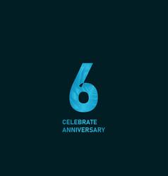 6 year anniversary aqua color template design vector