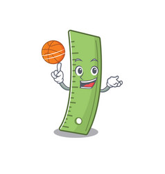 A mascot picture ruler cartoon playing basketball vector