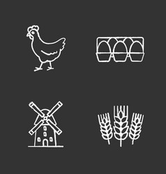 agriculture chalk icons set vector image