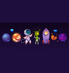 alien planets astronaut and rocket in cosmos vector image