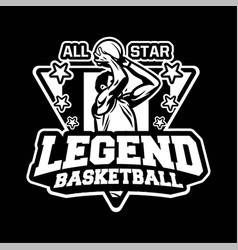 all star legend basketball athletic in modern vector image