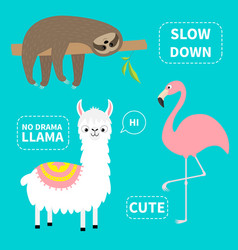 Alpaca flamingo sloth set no drama llama slow vector