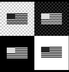 American flag icon isolated on black white and vector