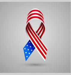 american flag ribbon patriotic symbol 4 july vector image