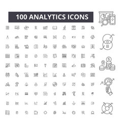 analytics editable line icons 100 set vector image