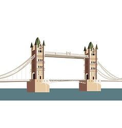 Ancient bridge over the river vector