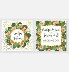 Beautiful set of vintage wedding invitation vector